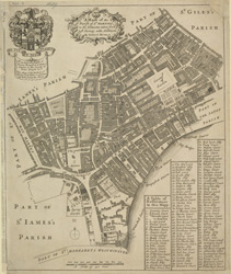 A mapp of the parish of St Martins in the Fields, taken from ye last survey, with additions (1685)